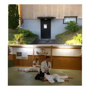 Collage med bild på entré och två par tränande på mattan